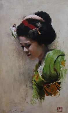Maiko Satohana - 8 x 10 signed print of an original oil painting A portrait of a maiko (geisha in training) from the Kamishichiken district of Kyoto, Japan. Painting People, Figure Painting, Painting & Drawing, Japan Painting, Art Geisha, Art Quotidien, L'art Du Portrait, Painting Competition, Japan Art