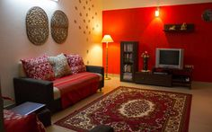 New living room paint red home ideas Indian Living Rooms, Living Room White, Living Room Paint, New Living Room, Living Room Decor, Indian Bedroom, Ethnic Home Decor, Indian Home Decor, Indian Home Interior