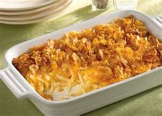 Cheesy Hashbrown Casserole    2 lbs. hash browns, defrosted  1/2 c. melted butter  1 tsp. salt  1/4 tsp. pepper  1/2 c. chopped onion  1 can cream of chicken soup  1 c. milk  1 c. sour cream  2 c. grated sharp cheese (Colby or cheddar)  Mix above ingredients and put in a 9″x13″ pan.  TOPPING:  2 c. crushed corn flakes (can use Ritz crackers)  1/2 c. melted butter  Melt butter and add corn flakes to mix. Sprinkle topping over potatoes and bake at 350 degrees for 45 minutes