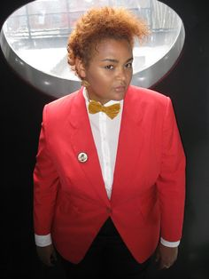 As soon as I read about this week's assignment, I envisioned doing an interpretation of Janelle Monàe. With her statement tie/bow tuxedo. Mode Plus, Prep School, Tuxedo, Prepping, Blazer, How To Wear, Jackets, Men, Clothes