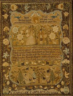 Embroidered sampler ca. 1791, Rebekah S. Munro (1780 -1803), American, New England, Providence RI; Silk on linen; 15 3/4 x 11 3/4 in. Later style associated with Miss Balch's school. Verse states that a young woman should divide her time between reading, sewing, and writing, an indication that by the end of the eighteenth century, some families considered intellectual pursuits as important as sewing. - The Met