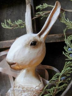 The Goode Wife of Washington County: Winter's Voice ©2014 StaceyMead Annella ~ a Paperclay, Queen Anne inspired rabbit
