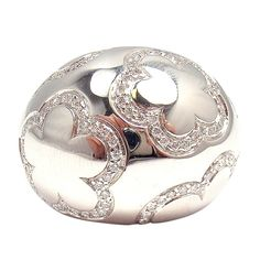 CHANEL Diamond Domed Camellia White Gold Ring. 20th Century