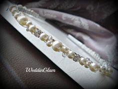 Bridal tiara, Ivory headband, Silver beaded band, Maid of honor gift, Swarovski pearl rhinestone, Wedding headpiece, White champagne