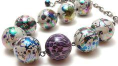 Chunky Rainbow Splatter Statement Necklace by NightsRequiem