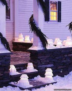 Snow lanterns. That's a pretty cool idea for winter.