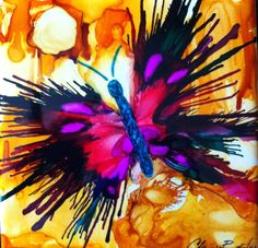 Alcohol Inks on Tile by Christine Purdy
