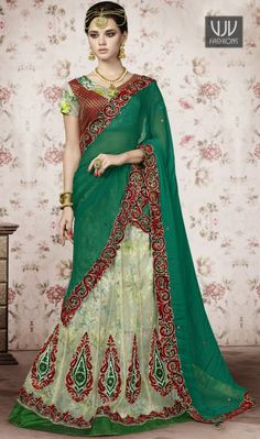 Latest Net Green Colar A Line Lehenga Choli Give in to the exotic confluence of today and tomorrow in this beautiful attire. Be your own style icon with captivating green net a line lehenga choli. Look ravishing clad in this attire which is enhanced beads, embroidered, patch border and zari work.