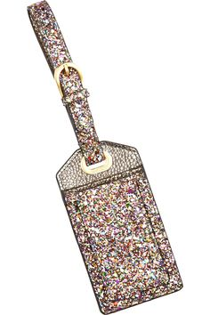 For added sparkle on your journeys - Jimmy Choo's Teddy glitter-finished leather luggage tag