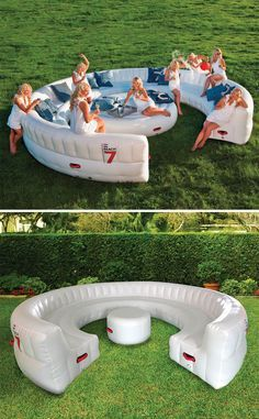 The Instant Summer Event Sofa - It provides instant seating for up to 30 guests. The sofa inflates via the included air pump in just 10 minutes. Outdoor Parties, Outdoor Fun, Outdoor Sofa, Outdoor Decor, Outdoor Furniture, Outdoor Games, Field Day Games, Cool Pool Floats, Inflatable Furniture