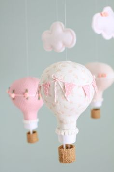 Hot Air Balloon Mobile Blush Pink and White by sunshineandvodka, $130.00