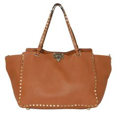 Valentino Tan Pebbled Leather Rockstud Tote Bag with Strap rt. 2 8794b8590b387