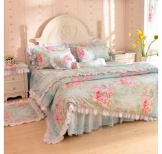 New Rose Flowers Blue Lace Tulle Frilly Bowtie Bedding-Girls Lace Bowtie Ruffle Bedding