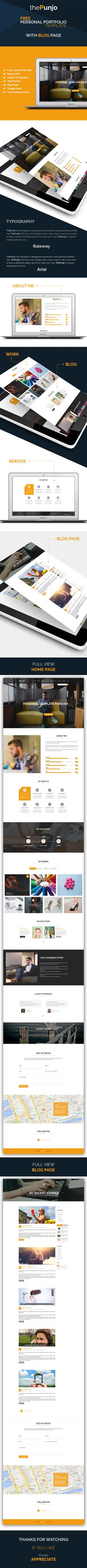 ThePunjo Personal Portfolio PSD Template (Free) on Behance