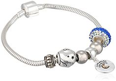 "CHARMED BEADS Sterling Silver Love You To The Moon Bead Set Snake Charm Bracelet, 7.5"" * More info @"
