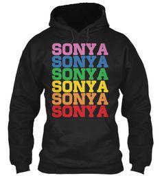 Sonya Rainbow Colors Black Sweatshirt Front