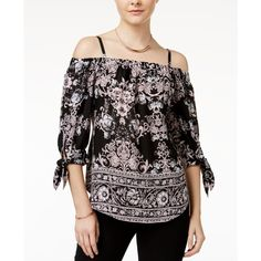 Bcx Juniors' Printed Cold-Shoulder Peasant Top (475 ZAR) ❤ liked on Polyvore featuring tops, blouses, peasant blouse, boho peasant tops, bcx tops, cold shoulder tops and bohemian style tops