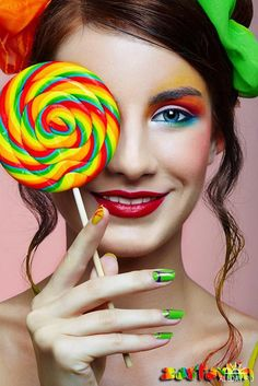 Star Times Forum: ,, ~ × ~ Sweet candy makeup look × ~ ,, ~ Candy Girls, Candy Makeup, Eye Candy, Pop Art Vintage, Beauty Makeup, Eye Makeup, Candy Theme, Glamour Photo, Photo Makeup