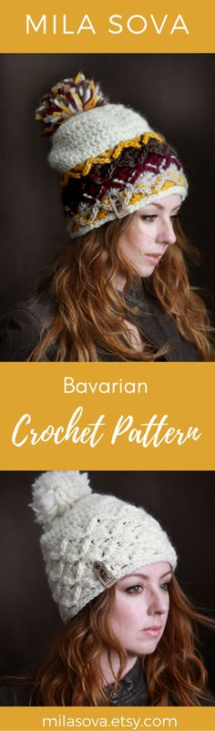 Chunky Bavarian crochet pattern perfect for winter fashion. Crochet Crafts, Free Crochet, Knit Crochet, Bavarian Crochet, Ear Warmers, Keep Warm, Crocheting, Winter Fashion, Winter Hats