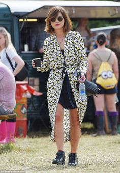 Festival-ready: Jenna Coleman was spotted hitting Glastonbury on Saturday afternoon at Worthy Farm in Somerset