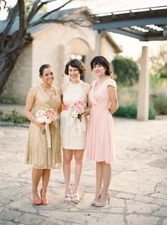 Whimsical Pink Wedding in Austin Bridesmaid Tips, Mismatched Bridesmaid Dresses, Bridesmaid Dress Styles, Bridesmaid Flowers, Wedding Bridesmaids, Short Gold Prom Dresses, Metallic Prom Dresses, Wedding Dresses, Bridesmaid Inspiration