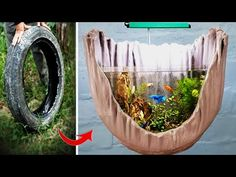 Aquariums: Make Amazing Aquarium With Special Shape From Tire Very Easy - Flake Food Tire Garden, Concrete Garden, Diy Aquarium, Aquarium Design, Concrete Crafts, Concrete Projects, Outdoor Fish Tank, Tire Art, Amazing Aquariums
