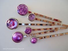 Cabochon bobby pins - Spring purple pearls and glitters TREASURY ITEM