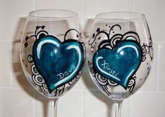 Two hearts Handpainted Wine Glasses. by Glassmagyck on Etsy, £25.70