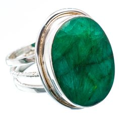 Unique Emerald Studded Sterling Silver Ring : Emerald Ring