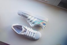 Adidas superstar sneakers shoes holographic grunge white