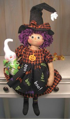 PDF E Pattern Primitive Raggedy Doll Witch Ghost Halloween Country Folk Art…
