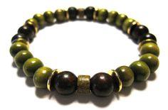Martini Wristicuff  Olive Green Wood Beads Dark Red by Wristicuffs