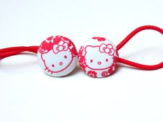 Check out this item in my Etsy shop https://www.etsy.com/listing/252413520/button-ponytail-holders-red-ponytail
