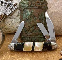 Case XX Wild Horse Custom Premium Gold Lip Pearl & Black Gold Vein Onyx Cattleman Stockman Pocket Knife by KiddCutlery on Etsy