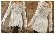 Crochet jackets are true treasures that make the woman most elegant and beautiful. Enjoy this gorgeous coat with sleeves. The detail of its production is in the patterns below. Enjoy this beautiful model! The schemes: Crochet Coat, Crochet Jacket, Crochet Clothes, Beautiful Models, Crochet Projects, Crochet Patterns, Clothes For Women, Knitting, Dresses