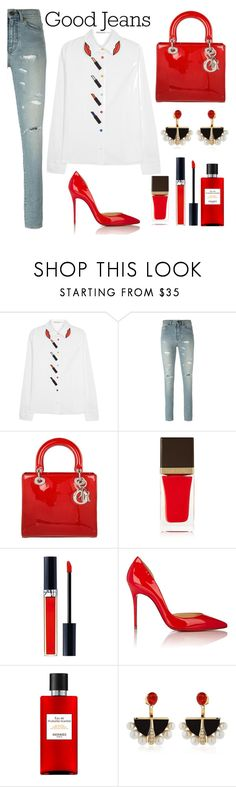 """""""Tear it Up: Distressed Denim"""" by anna-gabedava ❤ liked on Polyvore featuring Alice + Olivia, Yves Saint Laurent, Christian Dior, Tom Ford, Christian Louboutin, Hermès, Lalique and distresseddenim"""