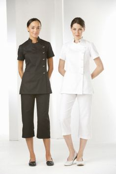 Beauty therapist hairstyles and uniforms on pinterest for White spa uniform uk