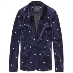 Velvet Embroidered Jacket ($220) ❤ liked on Polyvore featuring outerwear, jackets, velvet jackets, slim fit jackets, navy blue blazer, navy blue jacket and blue jackets