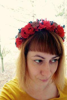 Martinuska / Červená vianočno zimná Handmade Headbands, Jewelry, Jewlery, Jewerly, Schmuck, Jewels, Jewelery, Fine Jewelry, Jewel
