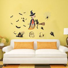 Bat And Sorceress Wall Sticker Theme Waterproof Removeable