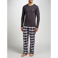 Buy Emporio Armani Check Pyjama Set, Blue from our Men's Pyjamas & Nightwear range at John Lewis & Partners. John Lewis Retail, Pj Sets, Lounge Pants, Nightwear, Emporio Armani, Pajama Set, Stylish, Tees, Check