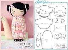 Diy kokeshi doll softie free sewing pattern by diane smith Felt Diy, Felt Crafts, Diy Kokeshi Dolls, Matryoshka Doll, Softies, Fabric Dolls, Paper Dolls, Sewing Dolls, Soft Dolls