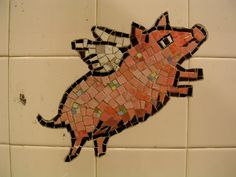 Flying pig in NY Subway This Little Piggy, Little Pigs, National Pig Day, Pig Images, Mosaic Animals, Pig Art, Cute Piggies, Flying Pig, Subway Art