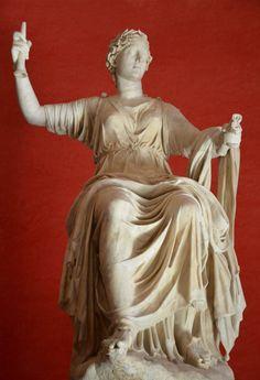 Clio, Muse of history, unearthed at Hadrian's Villa, Tivoli © Carole Raddato Ancient Rome, Ancient Art, Ancient History, Ancient Greek, Ancient Greece Clothing, Clio Muse, Greece Costume, History Encyclopedia, Roman Art
