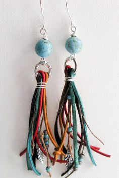 Fun Leather and Fiber Fringe earrings with Howalite www.facebook.com/lindysdesigns www.lindysdesigns.com
