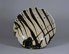 Shoji Hamada - bowl, stoneware, white glaze with iron black poured decoration. The Museum of Oriental Ceramics