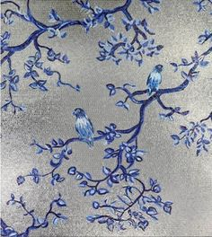 Another stunning wall by Sicis mosaic tiles. Silver grey blue white Birds and flowers. Stone Mosaic, Mosaic Glass, Stained Glass, Mosaic Wall, Mosaic Tiles, Sicis Mosaic, Blooming Trees, Mosaic Madness, Reno