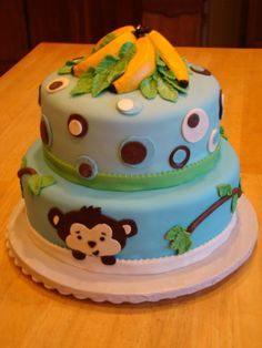 Monkey and bananas baby shower cake