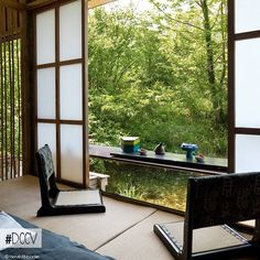 Shoji are Japanese screens made with a wood frame and panes of translucent paper. Japanese shoji are used as windows, doors and room dividers. In this interior, it allows natural diffused light into rooms while providing privacy.