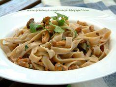 Qchenne-Inspiracje! Odchudzanie, dietoterapia, leczenie dietą: Dietetyczna wersja tagliatelle z kurkami lub innymi grzybami leśnymi!